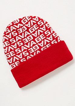 Red Print Savage Beanie