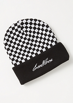 Checkered Print Good Vibes Embroidered Beanie