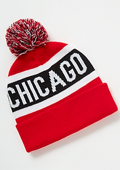 Chicago Striped Pom Pom Beanie