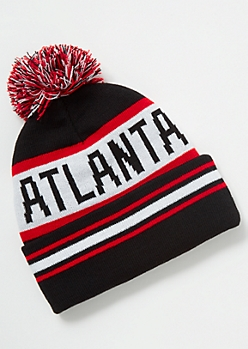 Atlanta Striped Pom Pom Beanie