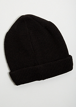 Black Knit Rolled Trim Beanie