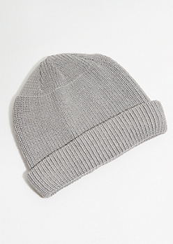 Gray Knit Rolled Trim Beanie