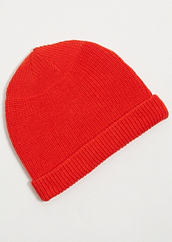 Coral Red Knit Rolled Trim Beanie