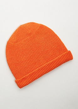Bright Orange Knit Rolled Trim Beanie