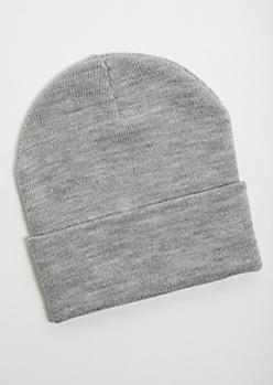 Gray Foldover Beanie