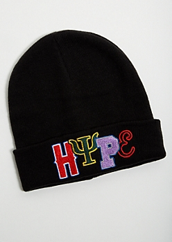 Black Embroidered Hype Foldover Beanie