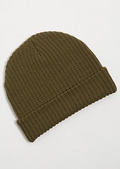 Dark Olive Green Waffle Knit Cuffed Beanie