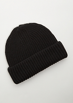 Black Double Cuffed Thick Knit Beanie