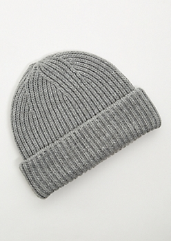 Gray Double Cuffed Thick Knit Beanie