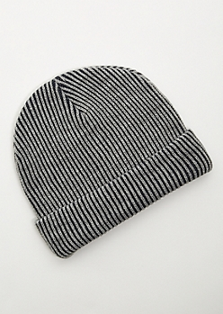 Gray Plated Cuffed Beanie