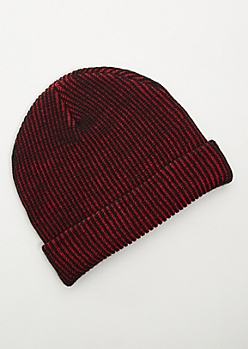 Red Plated Cuffed Beanie