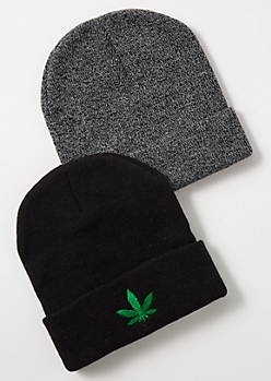 2-Pack Space Dye Weed Print Beanie Set