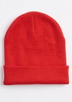 Red Folded Beanie