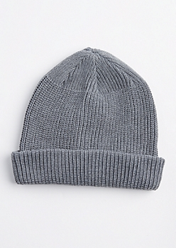 Gray Knit Rolled Beanie