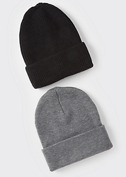 2-Pack Black And Gray Essential Beanie Set