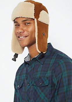 Brown Corduroy Sherpa Trapper Hat