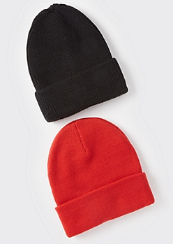 2-Pack Black And Red Essential Beanie Set