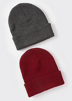2-Pack Charcoal And Burgundy Essential Beanie Set
