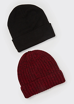 2-Pack Marled Ribbed Knit Beanies