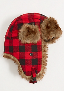 Red Plaid Print Faux Fur Trapper Hat
