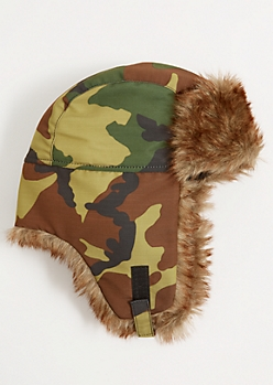 Camo Print Faux Fur Trapper Hat