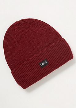 Burgundy Savage Embroidered Patch Beanie