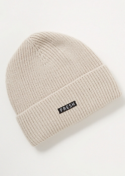 Sand Fresh Embroidered Patch Beanie
