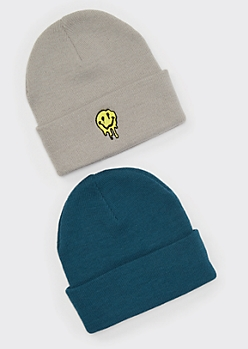 2-Pack Smiley Embroidered Beanie Set