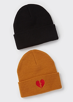 2-Pack Neutral Broken Heart Embroidered Beanie Set
