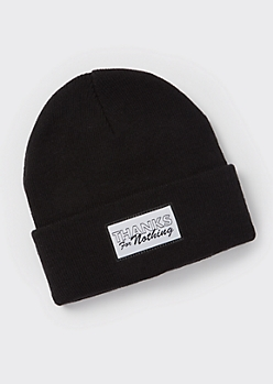 Black Thanks For Nothing Beanie