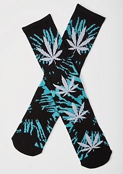 Black Tie Dye Weed Print Cushioned Premium Crew Socks