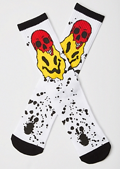 White Smiley Skull Cushioned Premium Crew Socks