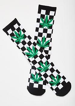Checkered Print Weed Leaf Premium Crew Socks