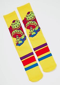 Yellow Mushroom Print Premium Crew Socks