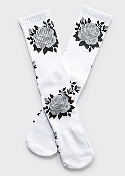 White Gray Rose Print Premium Crew Socks