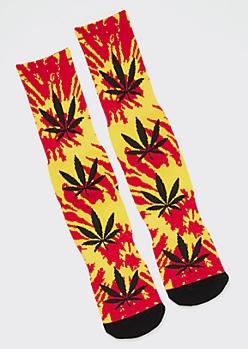 Red Tie Dye Weed Print Premium Crew Socks