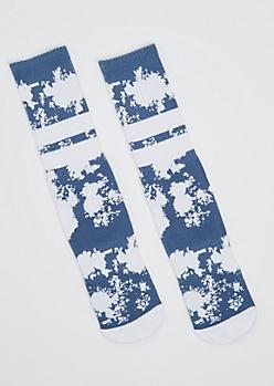 Blue Tie Dye Crew Socks