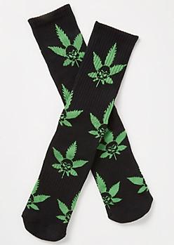 Black Skull Weed Print Crew Socks