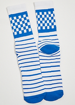 Blue Striped Checkered Print Premium Crew Socks