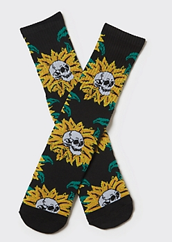 Black Skull Sunflower Premium Crew Socks