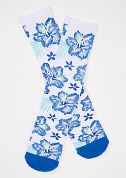 Blue Tropical Print Cushioned Premium Crew Socks