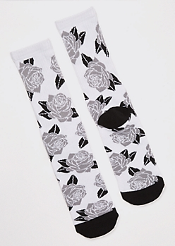 Gray Rose Print Crew Socks