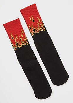 Black Flame Crew Socks