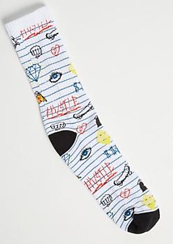 White Doodle Print Premium Crew Socks