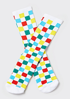 Rainbow Checkered Premium Crew Socks