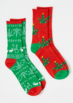 2-Pack Holiday Weed Print Crew Sock Set