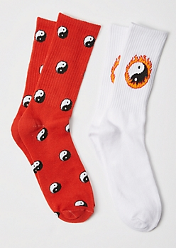 2-Pack Yin Yang Flame Crew Socks