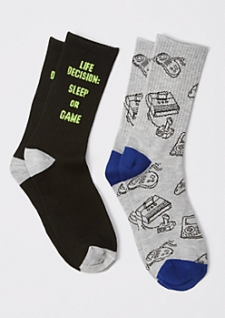 2-Pack Sleep Or Game Crew Socks
