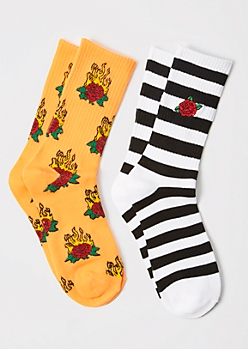 2-Pack Flaming Rose Embroidered Crew Socks