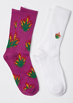 2-Pack Flaming Weed Leaf Embroidered Crew Socks